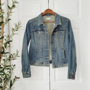 "Liz Claiborne ""dirty wash"" denim jean jacket Med"
